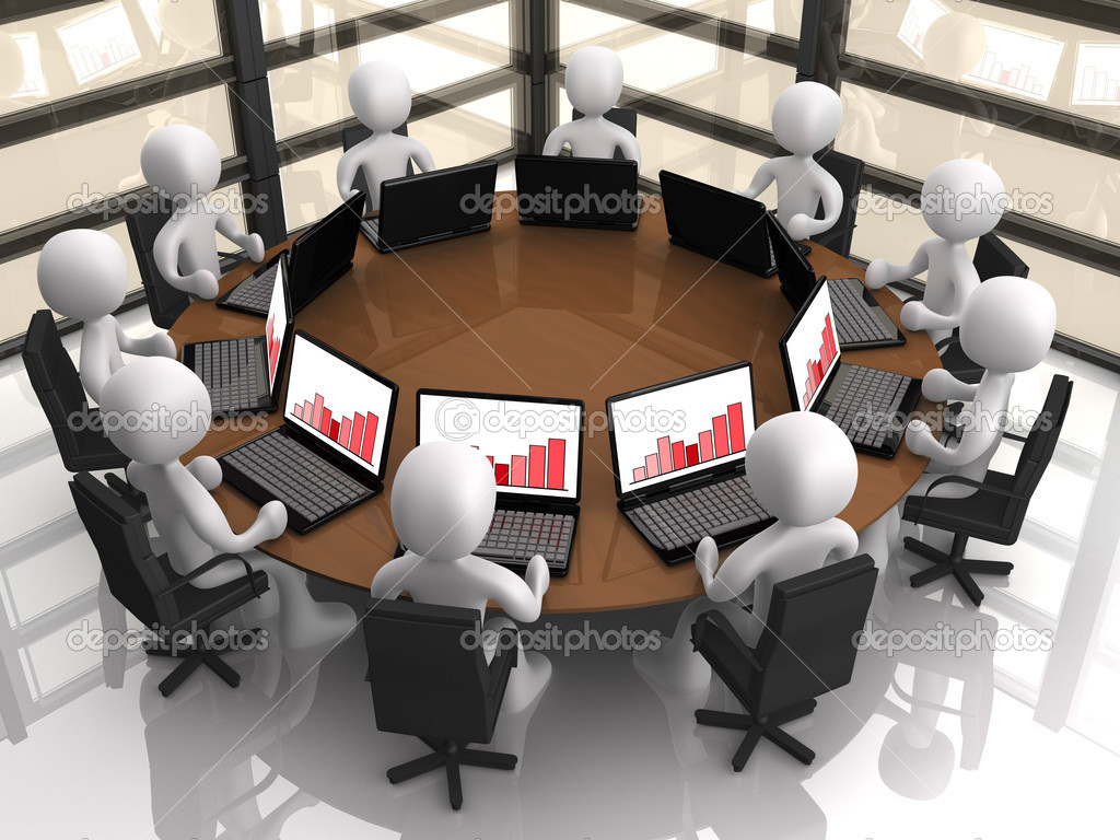 3d having a corporate meeting in their company's office.