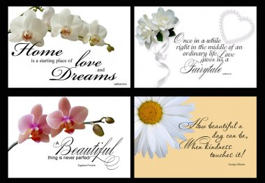 Set of 4 inspirational cards isolated on black background stock vector