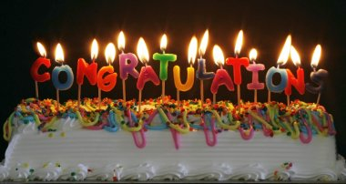 Congratulations candles on cake