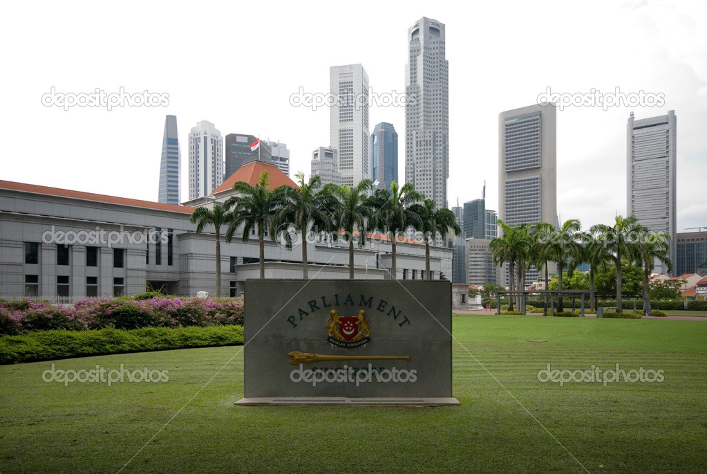 A view of parliament house with modern skyscrapers in the background singapore photo by phillipminnis