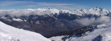 Panoramic view on Alps winter mountains