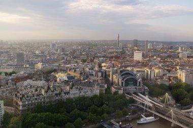 London city in dusk bird-eye view