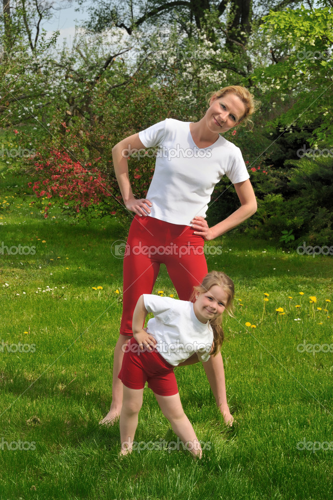 Mother and daughter - training