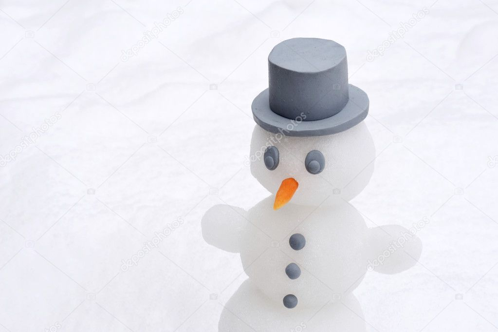 Snowman over white background