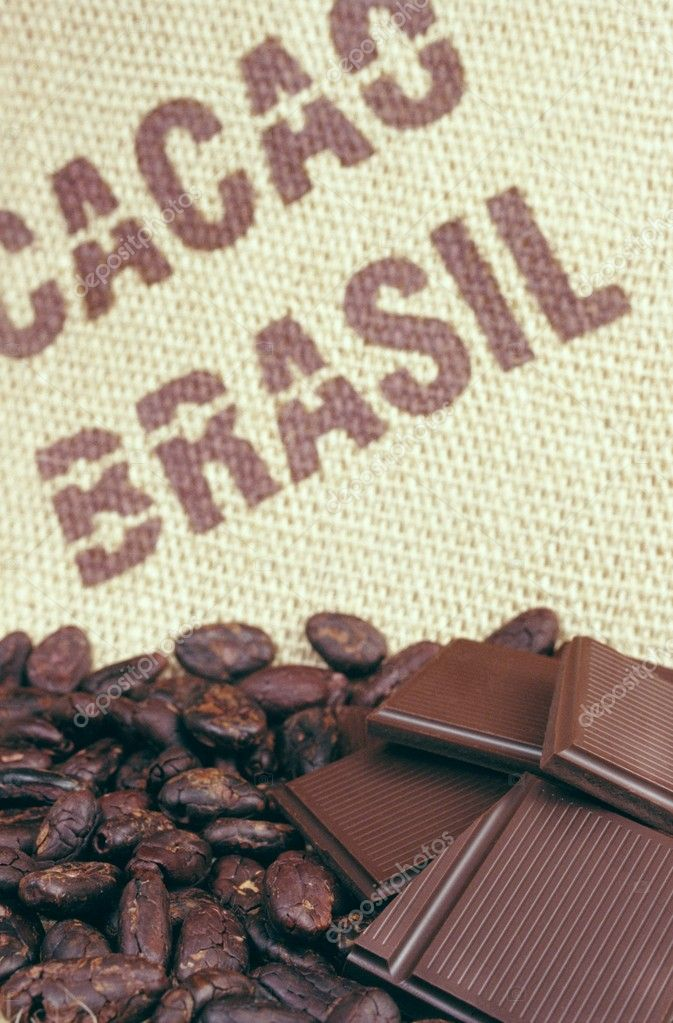 Cacao beans and hessian