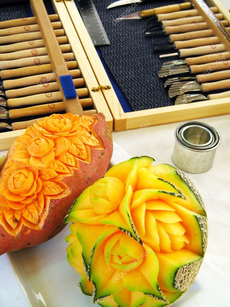 Sweet potato and melon - carving