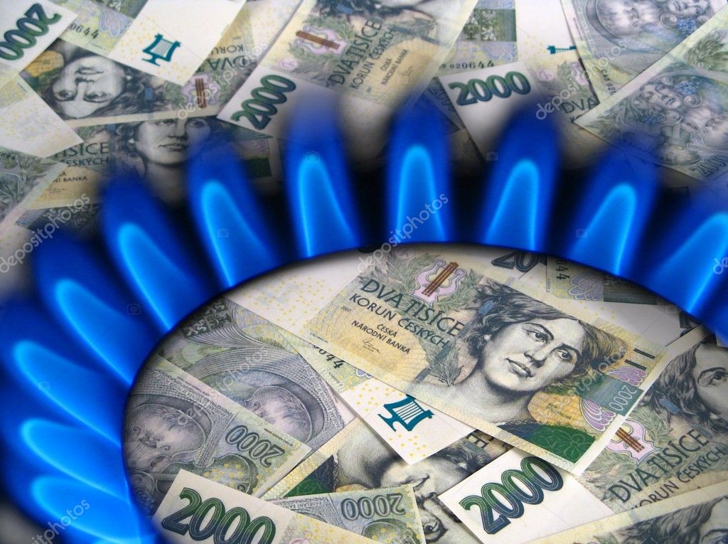 Money and gas stove - czech crowns
