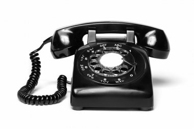 1960s style antique black telephone isolated on white stock vector