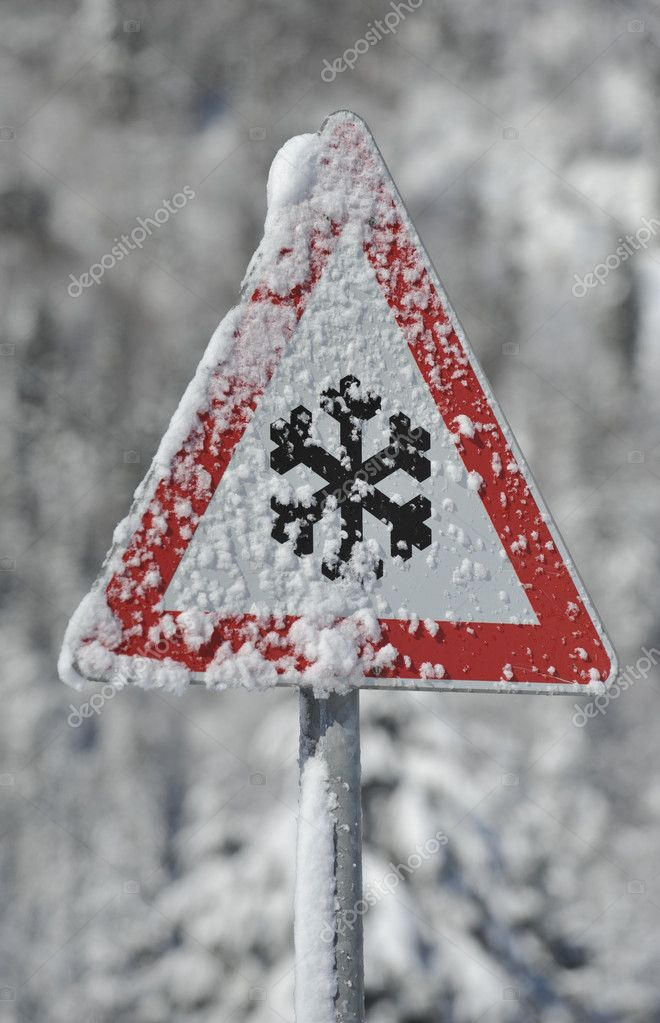 Winter warning sign