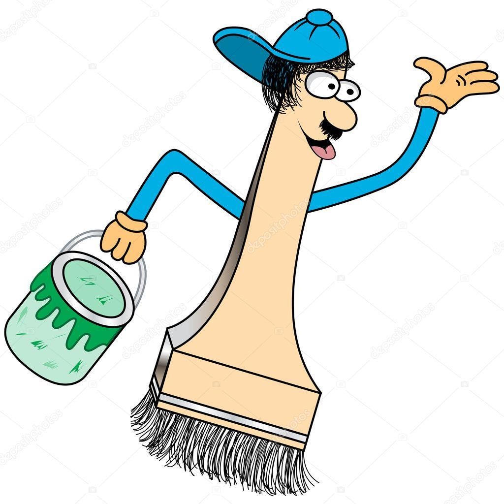 Paint Brush Cartoon Figur Stockvektor Toots77 2304546