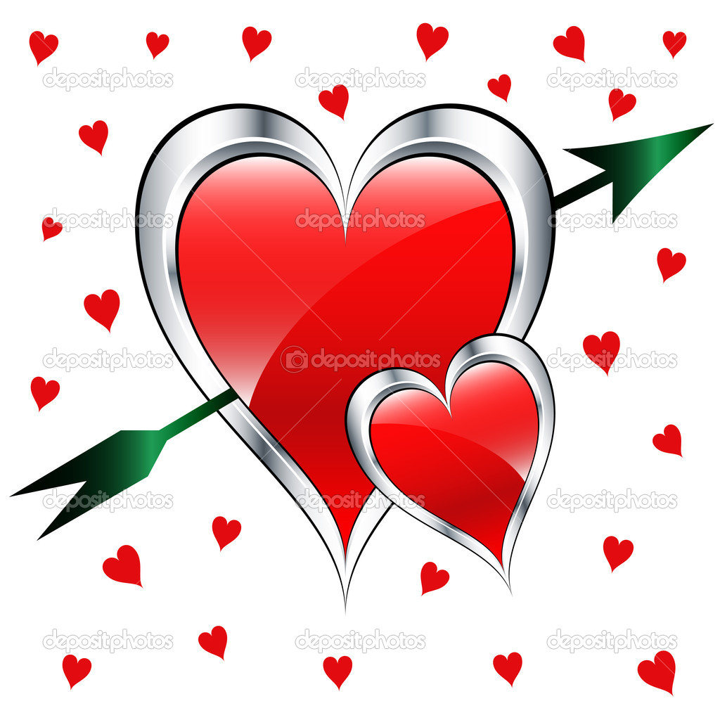 Valentine Day Love Hearts With Arrow Stock Vector C Toots77 2306680