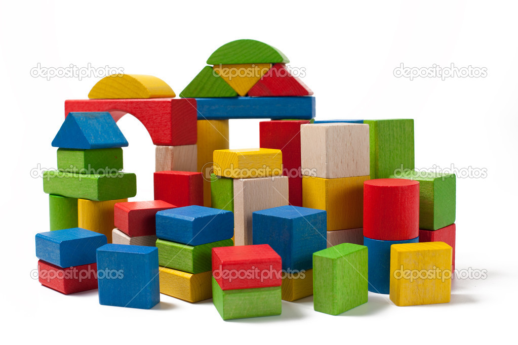 Building Plan With Wooden Blocks