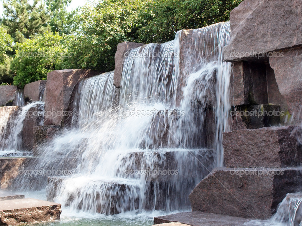 a waterfall at the fdr memorial in washington dc u2014 photo by tdoes1 - Waterfall Fountain