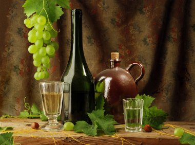 Vintage still life of white wine