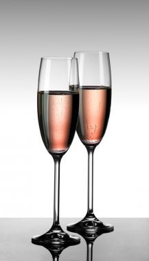 Pink champagne in two glasses