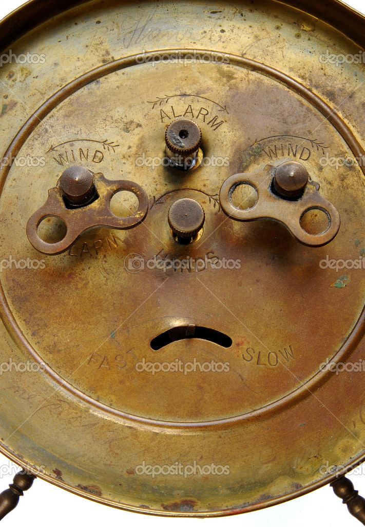 back of vintage alarm clock u2014 stock photo