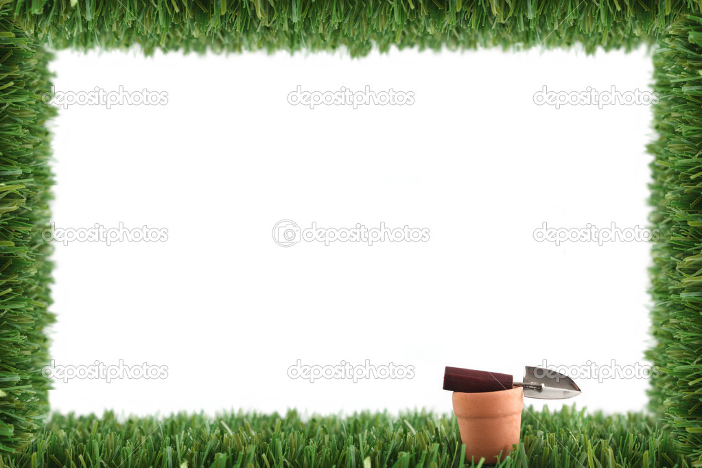 Garden grass frame and pot