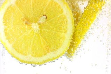 Sliced lemon in refreshing fizzy water