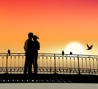 Silhouette of bridge and pair of lovers on sunset background stock vector