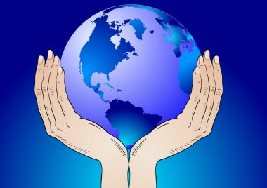Earth in the your hands - vector