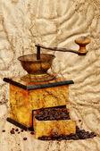 Fényképek malom kávé és a bab grunge stílus