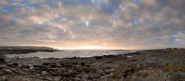 Sunset over Burren coast panoramic