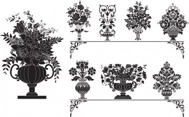 Antique vases with flowers