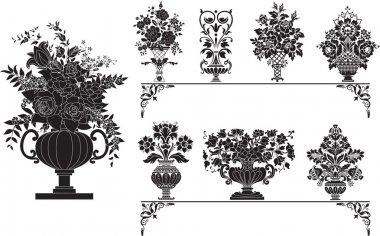 """Картина, постер, плакат, фотообои """"антикварные вазы с цветами """", артикул 2263297"""