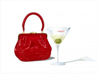 Bag and martini glass