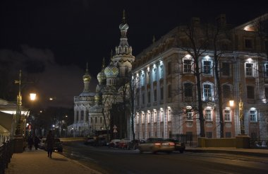 Nitgh street at winter St.Petersburg