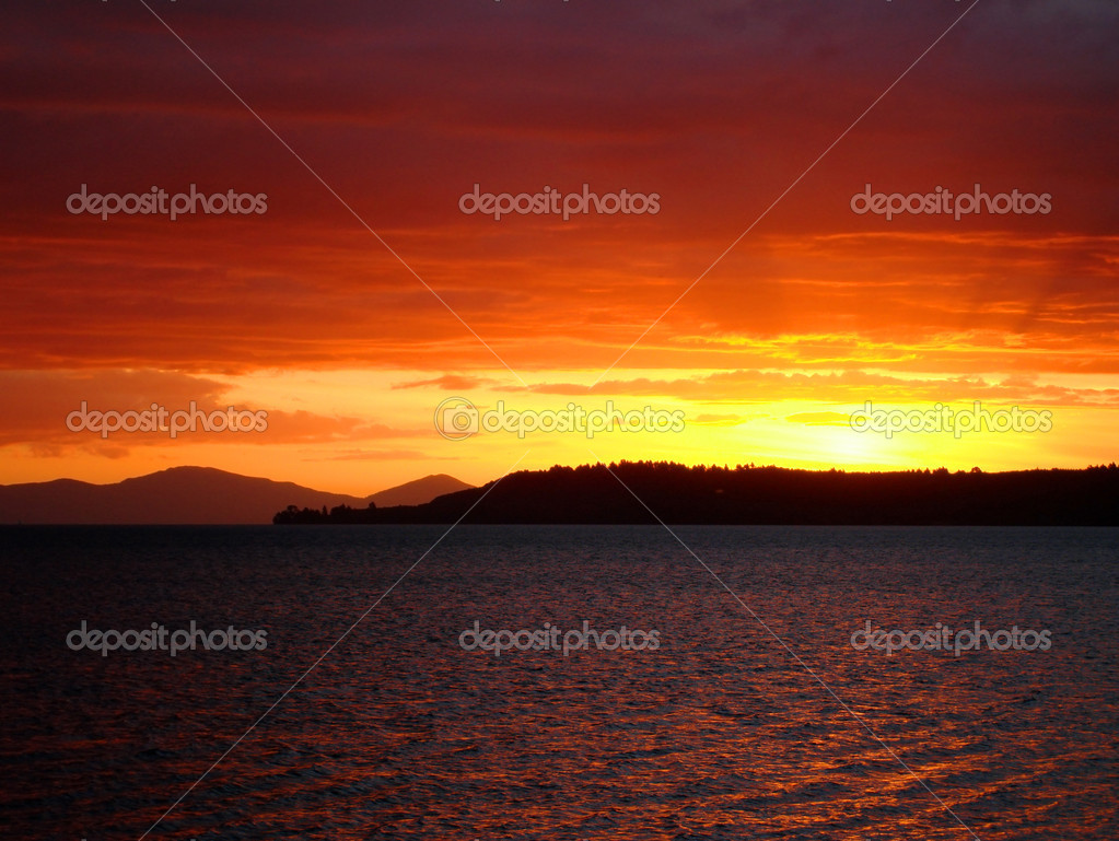 Deep red sunset over Lake Taupo, NZ