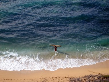 Aerial of Surfer carrying surfboard