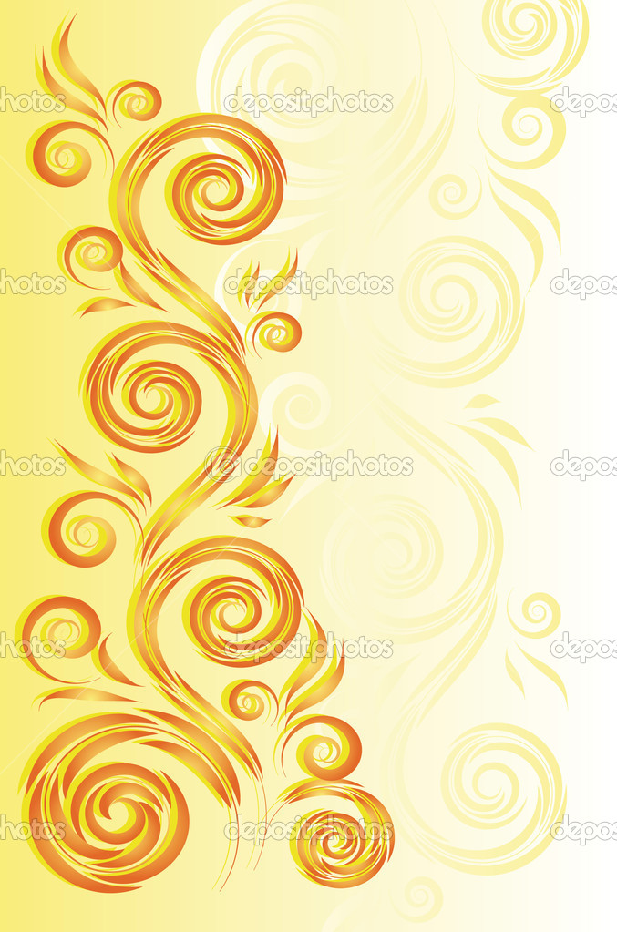 Yellow background with floral ornament