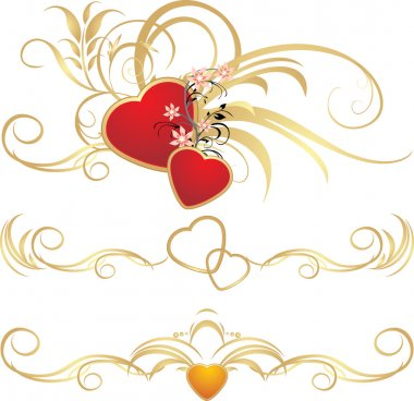 Hearts with floral ornament. Patterns