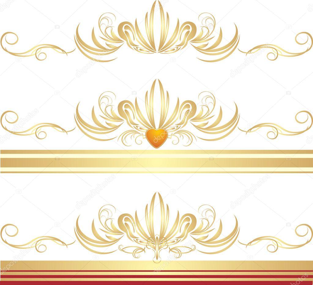 Adornos dorados para los tres marcos vector de stock - Marcos de fotos dorados ...