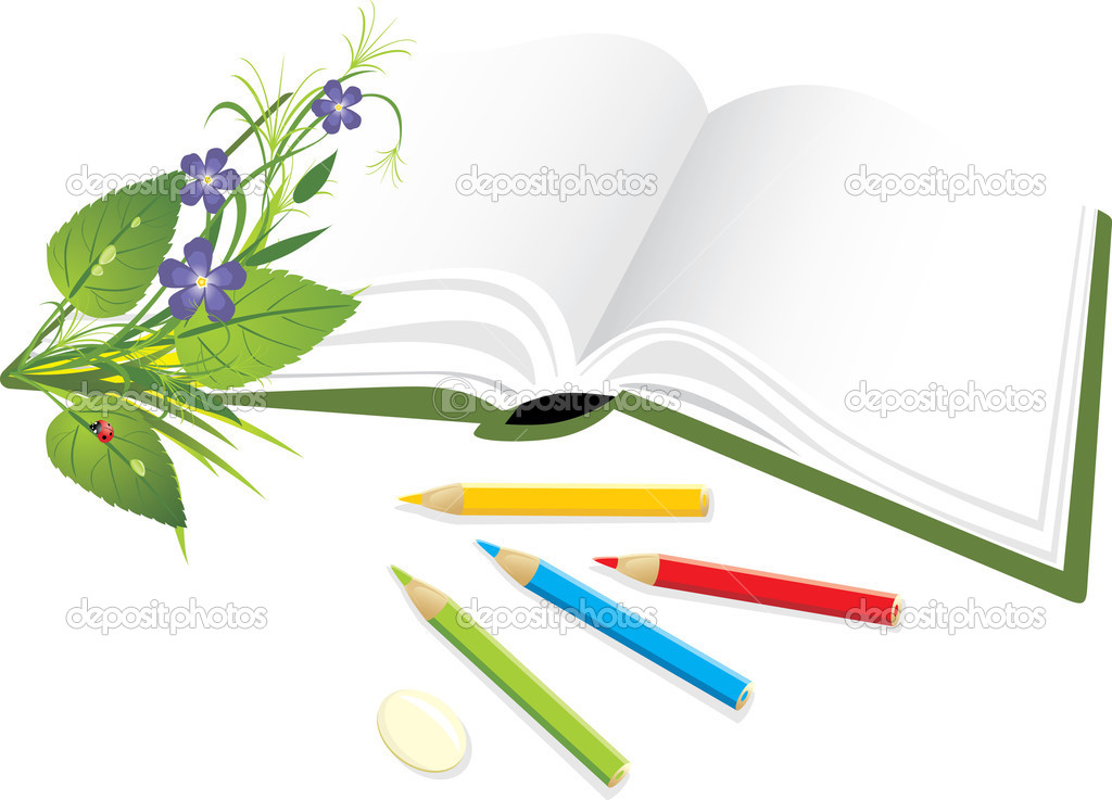 Book, pencils and bouquet of flowers
