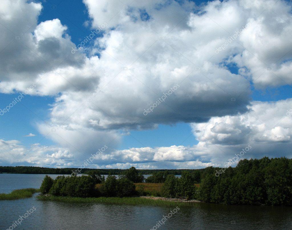 Onega lake. Archipelago of Kizhi.