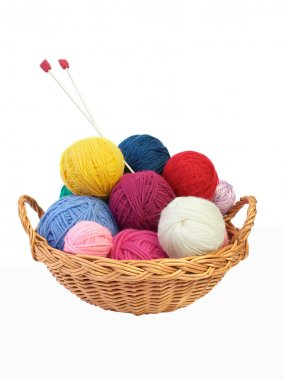 Colorful knitting yarn and needles