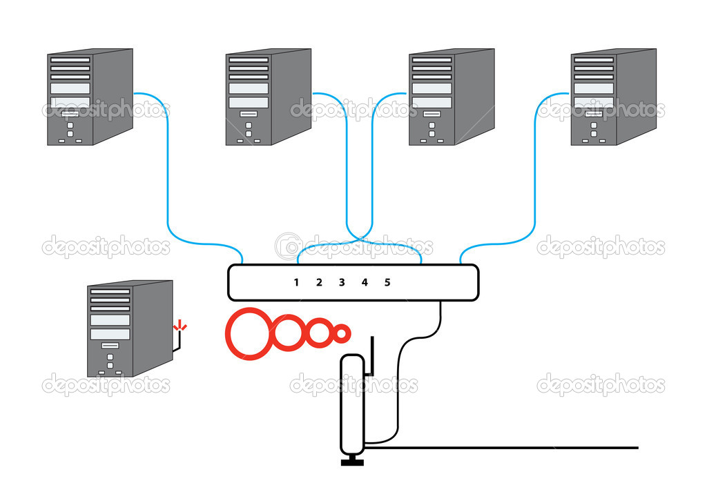 computer network sectional diagram  u2014 stock photo  u00a9 mwp1969