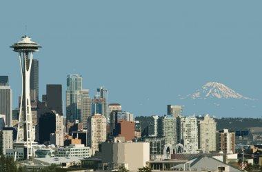 Seattle Space Needle and Mt. Rainier