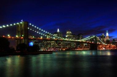 New York, Brooklyn Bridge at night, HDR