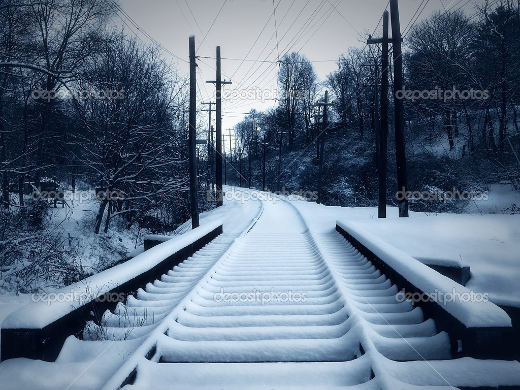 Snow on Train Tracks