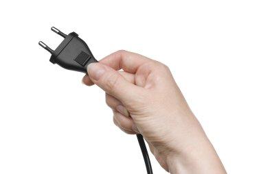Black plug in female hand