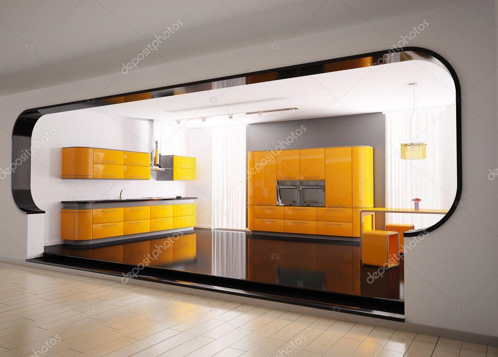 narancs-szürke konyha 3d — Stock Fotó © scovad #2269500
