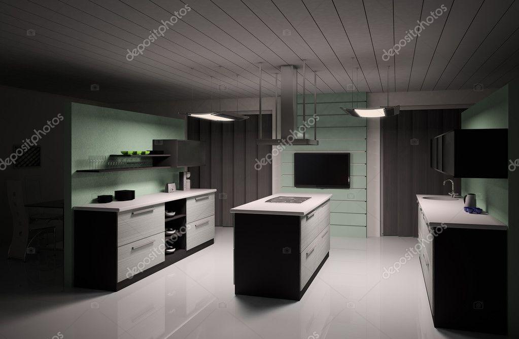 Interieur van moderne keuken 3d render stockfoto scovad 2269706 - Fotos van moderne keuken ...