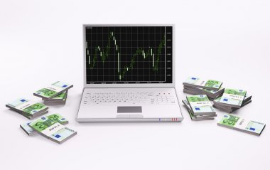 White laptop and stacks of euros 3d