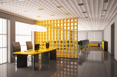 Modern office interior 3d render