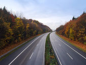 German autobahn in the autumn