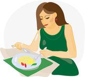žena jíst v restauraci