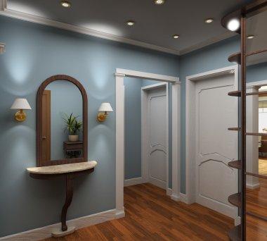 3D render interior of vestibule